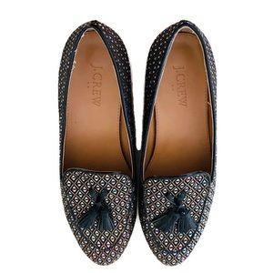 J.Crew Glitter Loafers Short Heel Tassel Flats